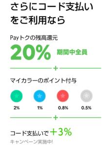 LINEPay Payトクキャンペーン コード支払い