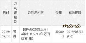 EPARKのお正月キャンペーン 抽選結果
