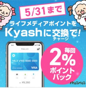 Kyashリアルカード ポイントサイト(ライフメディア)でお得なキャンペーン